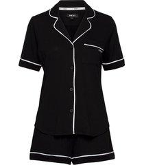 dkny new signature s/s top & boxer pj pyjamas svart dkny homewear