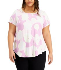 alfani plus size abstract printed t-shirt, created for macy's