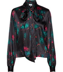 silk stretch satin blouse lange mouwen zwart ganni