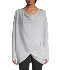 max studio women's twist front layering top - oatmeal - size l