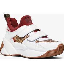 mk sneaker keeley in pelle e jacquard con logo - beige/ebano (marrone) - michael kors