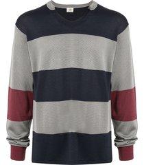 kent & curwen v-neck striped sweatshirt - grey