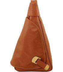 tuscany leather tl140966 hanoi - zaino in pelle morbida cognac