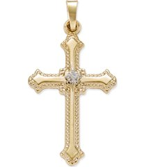 diamond accent beaded-edge cross pendant in 14k yellow gold