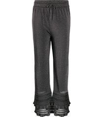 m missoni metallic crochet trim trousers - silver