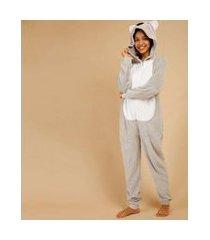 pijama macacão pelúcia capuz coala manga longa marisa