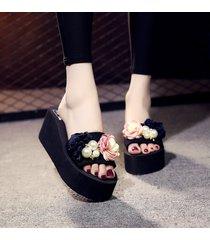 plataforma de la perla de la flor zapatillas de cuña para las