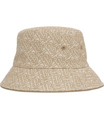burberry embroidered tb monogram canvas bucket hat, size medium in tb tan /soft fawn at nordstrom