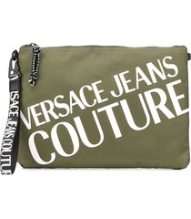 versace jeans couture contrast logo clutch - green