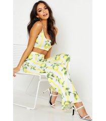 gestreepte fruit print bralette en wide leg broek set, yellow