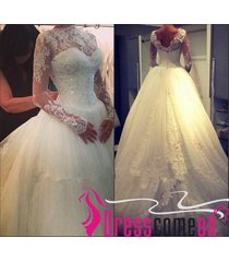 elegant ball gown white long wedding dresses with sleeves lace &tulle bridal