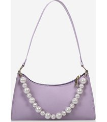 french style faux pearl rectangle shoulder bag