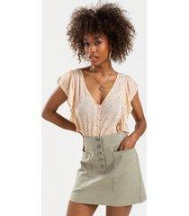 olgae button side pocket mini skirt - sage
