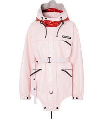 burberry two-tone coated nylon parka - pink