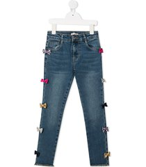 billieblush ribbon embroidered jeans - blue