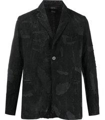 avant toi distressed single-breasted blazer - black