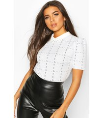 boucle flanneled collar puff sleeve top, white