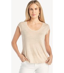 sanctuary women's alma scoop tee in color: modern beige size large from sole society