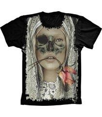 camiseta manga curta lu geek skull mulher preto
