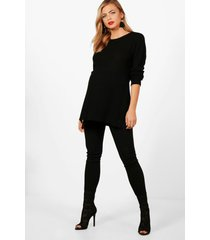 maternity side split moss stitch sweater, black