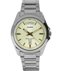 reloj casio mtp-1370d-9a analogo  100% original-amarillo