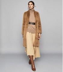 reiss halle - long line faux fur coat in almond, womens, size xl