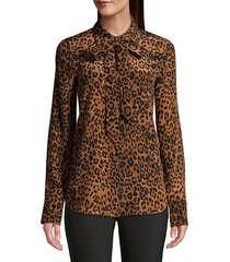 lafayette 148 new york diana silk leopard-print blouse - teak multi - size xs