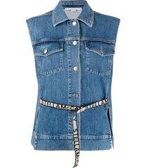 stella mccartney logo belt sleeveless denim jacket - blue