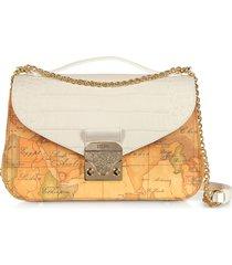 alviero martini 1a classe designer handbags, jolie coated canvas & embossed crossbody bag
