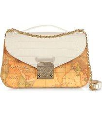 alviero martini 1a classe designer handbags, jolie coated canvas & embossed shoulder bag