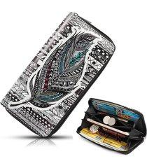 portafoglio da donna con stampa a portafoglio lungo in pelle pu nazionale