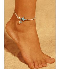 silver bohemian style starfish shell beads anklet