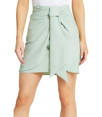 river island knotted faux wrap skirt, size 12 us in light green at nordstrom
