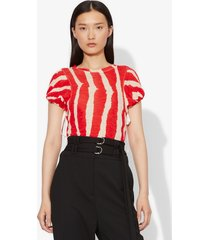 proenza schouler zebra stripe print tied short sleeve t-shirt ecru/poppy zebra stripe/red l