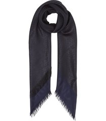 burberry metallic monogram large square scarf - blue