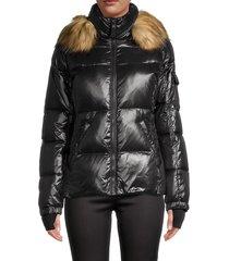 s13 women's allie faux fur-trim hooded puff jacket - dark military - size xl