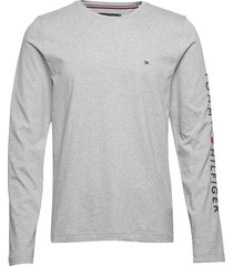 tommy logo long sleeve tee t-shirts long-sleeved grå tommy hilfiger