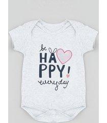 """body infantil """"be happy"""" com coração furta cor manga curta cinza mescla"""