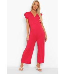 zwangerschap culotte jumpsuit met geplooide schouders, red