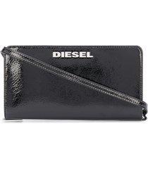 diesel glossy crossbody strap wallet - black