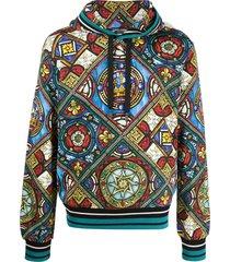 dolce & gabbana stained glass window print hoodie - blue