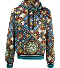 dolce & gabbana stained glass window print hoodie - blue