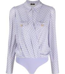 elisabetta franchi graphic-print shirt bodysuit - purple