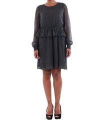 jurk vero moda 10196226 vmkim l/s short dress o17 asphalt