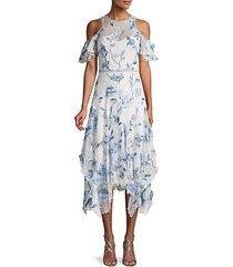 floral patch cold-shoulder lace midi dress