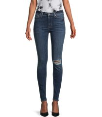hudson women's mid-rise super-skinny distressed jeans - ashwell blue - size 24 (0)