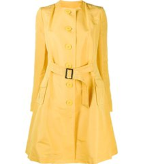 john galliano pre-owned collarless flared belted coat - yellow