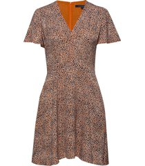 chinwe mix flippy dress kort klänning brun french connection