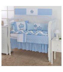 kit berço coroa azul bebê trança 12 peças