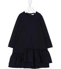 il gufo loose fitted frilled dress - blue